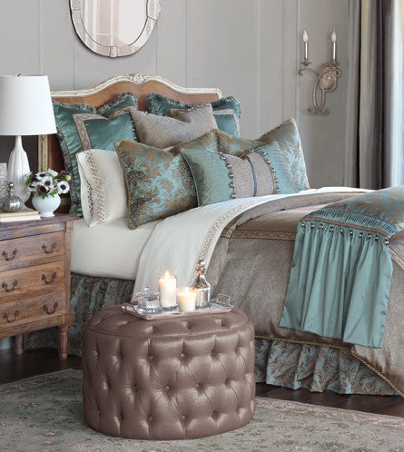 Eastern Accents Monet Collection Step into an air of elegance with the feminine poise of Monet It infuses the home with glamour in rich aqua tones and a lustrous sheen Floral motifs and ball trim detailing transform your bedroom into a palace retreat Made in USA BDK-379