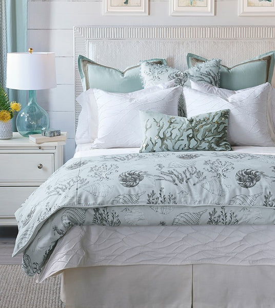 Eastern Accents Nerida Collection NEW 2018 Enjoy the soothing effects of a tropical getaway all year round. Corals and seashells float across Nerida' s duvet cover against a backdrop of calming spa blue a textured wave pattern give its coverlet and shams a comforting water-like touch. Whether in your coastal retreat or big-city home, this collection will whisk you away to the open seas