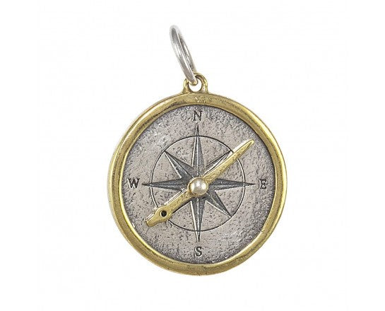 Waxing Poetic Compass Seaward Pendant inspired by all things oceanic and maritime, and a little bit of myth and magic, the Seaward collection is sure to delight and inspire seaworthy reveries whenever worn. Cast in sterling silver with brass detail SEA4-SB-CMPS