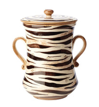 "Load image into Gallery viewer, Vietri Serengeti Canister The Serengeti canister's classic colors of black, brown, and cream make the bold and exotic print versatile for both modern and traditional homes. Hand painted on terra bianca in Umbria. Decorative use only.  Measurements: 12""W, 15""H"