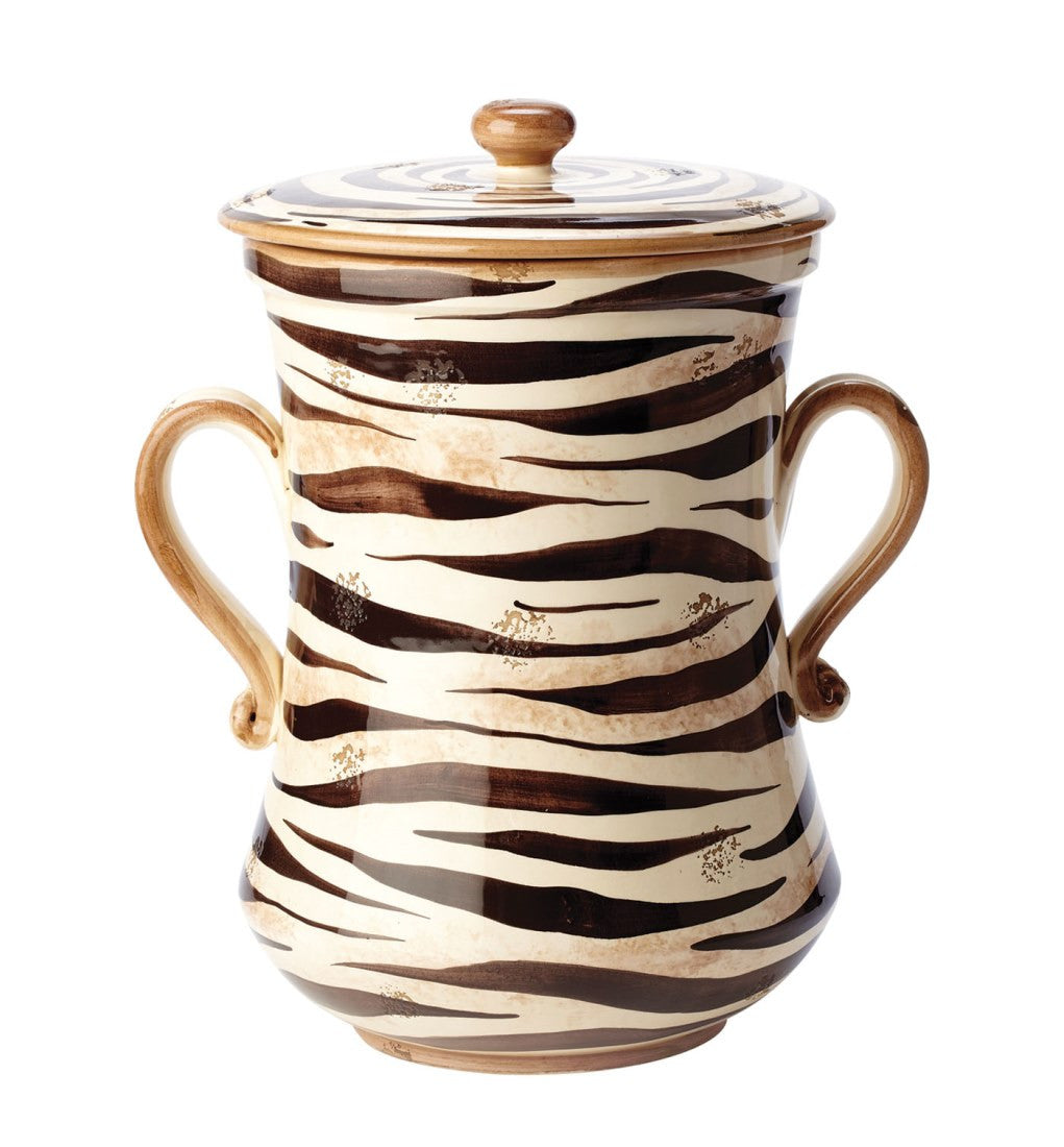 Vietri Serengeti Canister The Serengeti canister's classic colors of black, brown, and cream make the bold and exotic print versatile for both modern and traditional homes. Hand painted on terra bianca in Umbria. Decorative use only.  Measurements: 12