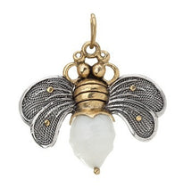 Load image into Gallery viewer, Waxing Poetic Bee Brave Honey Bee Pearl Pendant