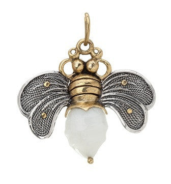 Waxing Poetic Bee Brave Honey Bee Pearl Pendant