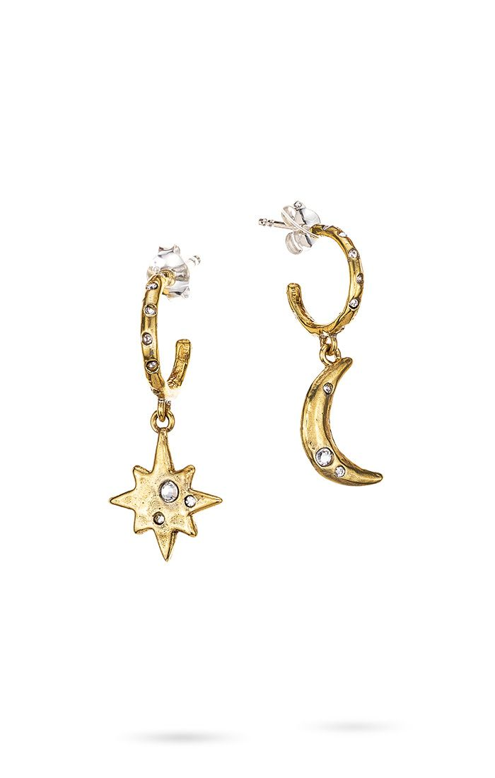 Waxing Poetic Edenic Celestial Moon and Star Huggie Hoop Earrings NEW 2021