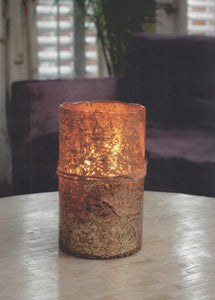 Himalayan Textured Artisan Glass Hurricane Candle Matte Gold HURMG
