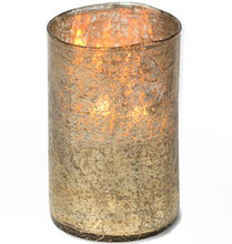 Load image into Gallery viewer, Himalayan Textured Artisan Glass Hurricane Candle Matte Gold HURMG