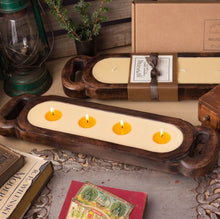 Load image into Gallery viewer, Himalayan Wooden Candle Tray reusable original solid hand hewn mango wood containers natural soy wax blend  high quality essential and fragrance oils burn clean even burn minimal soot  little to no residue 23 inches long 40 ounces 60 hours burn 4 wicks 4 inches tall Solid hand hewn mango wood MCTR Gift Made in USA