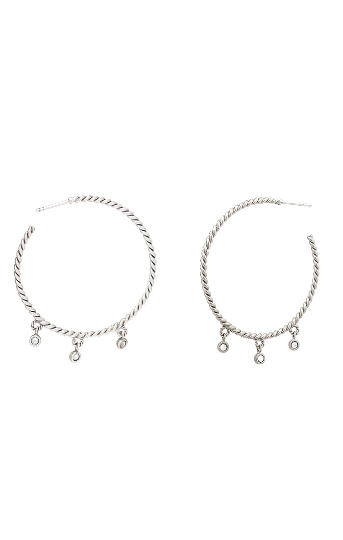 Waxing Poetic Points Of Light Hoop Earrings Sterling Silver
