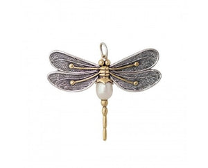 Waxing Poetic Pearl of Change Dragonfly Pendant