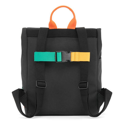 Dusq Mini bag, Canvas ryggsekk - Night black/fresh orange