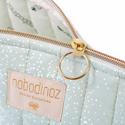 Nobodinoz toalettmappe, small, white bubble - aqua