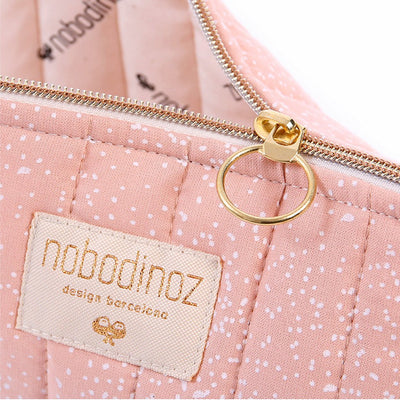Nobodinoz toalettmappe, large, white bubble - misty pink
