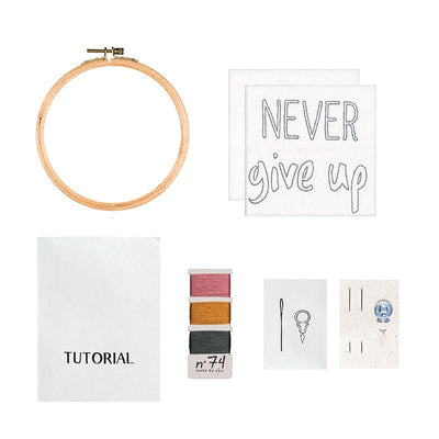 Numero 74 broderingssett, Hoop Kit Quote - Never give up