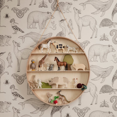ferm Living tapet, Animals - off white