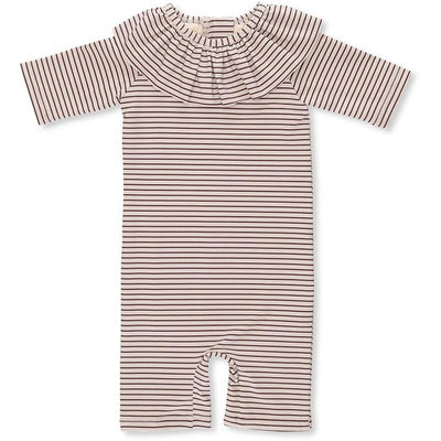 Konges Sløjd UV badeheldrakt, Girls Striped Bordeaux/nature - 0-3 år