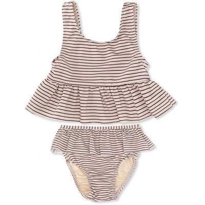 Konges Sløjd UV-bikini, Striped bordeaux/nature - 0-9 år