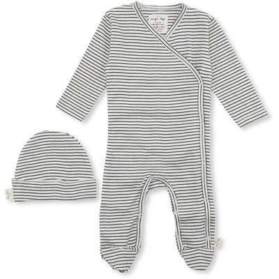 Konges Sløjd Dio Newborn set, body og lue - Ebony blue/off-white