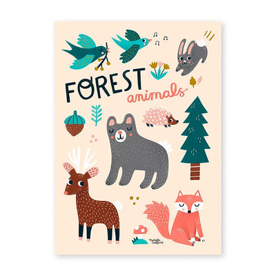 Michelle Carlslund plakat, Forest animals - 30 x 40 cm