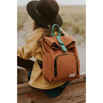 Dusq Mini bag, Canvas ryggsek - Sunset cognac/Forest green