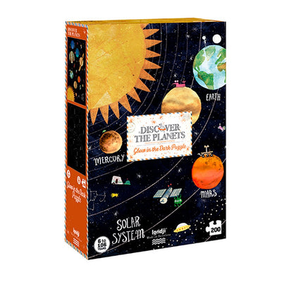 Londji puslespill, Discover the planets, Glow in the dark - 200 brikker