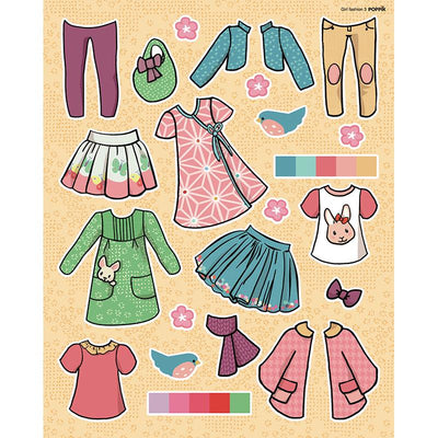 Poppik klistremosaikk i papir, Stor plakat og  750 stickers - Girl fashion