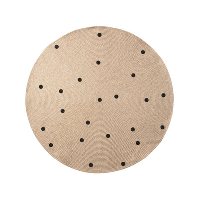 ferm Living gulvteppe, rundt - Black Dots small