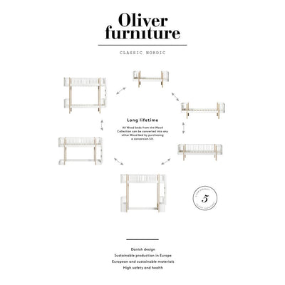 Oliver Furniture, Wood halvhøy seng - hvit