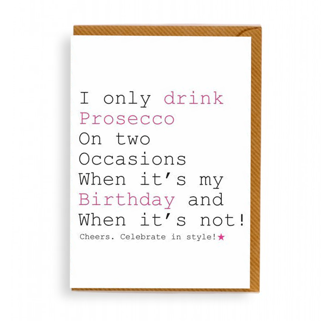 Prosecco Birthday Card