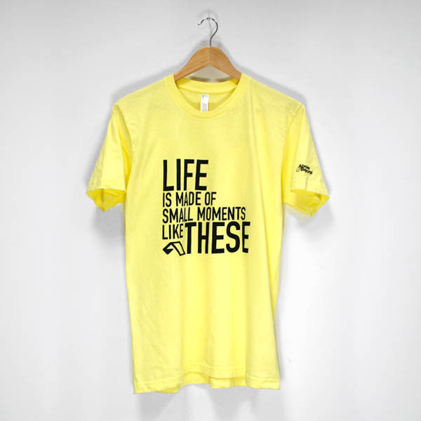 Mens Small Moments Black Logo T-Shirt (Yellow)
