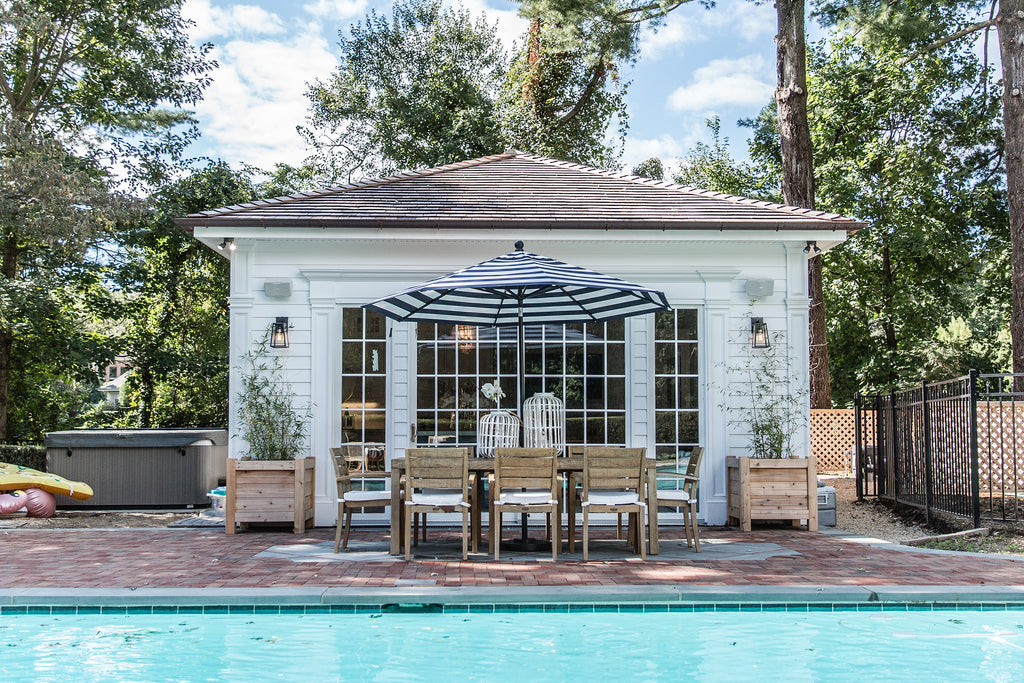 Hamptons style cabana pool house design ocean blu designs for Pool design hamptons
