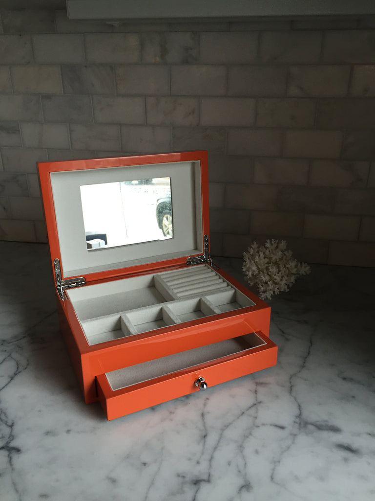 Reed & Barton Orange Laquered Jewelry Box Hermes style