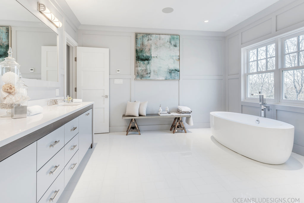 Modern coastal beach house bathroom designs hamptons for Coastal contemporary design