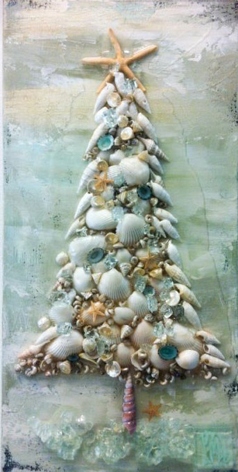 Coastal Seashell Christmas tree art