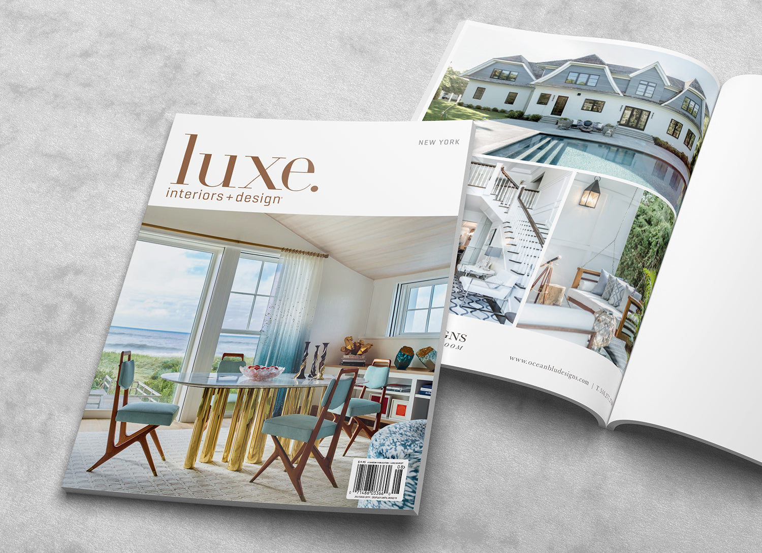 Luxe Magazine New York July August - Hampton Design Cover & Ocean Blu Designs - Press page.