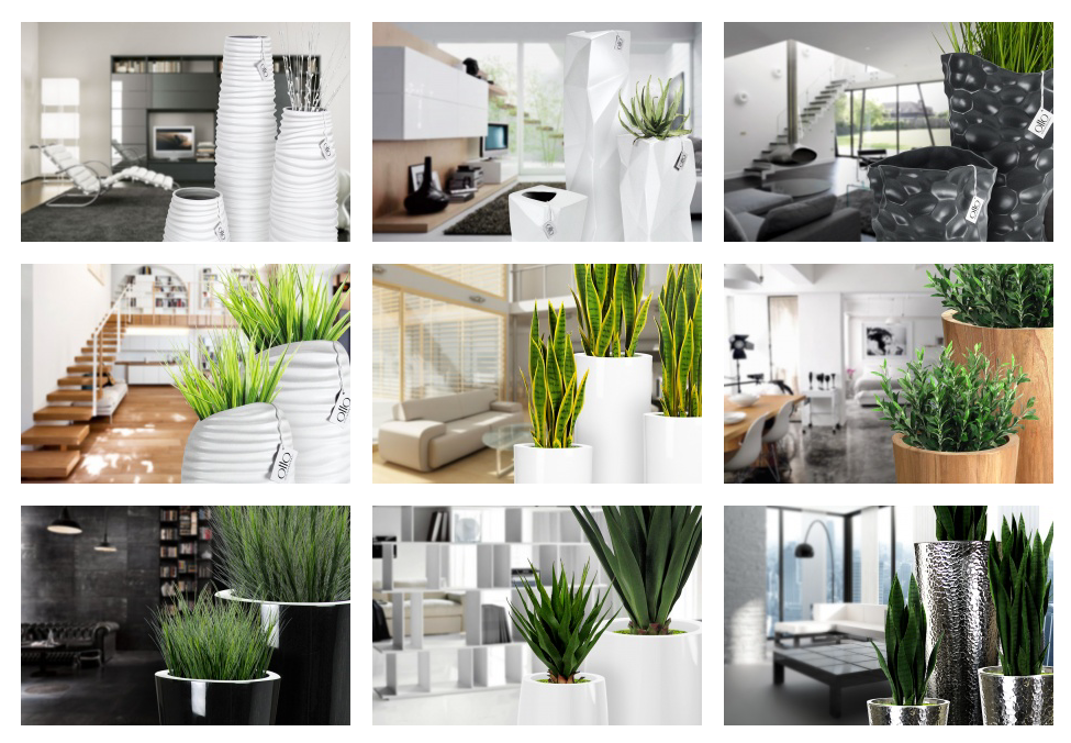 Le Present Planters and Plants - Modern Tall Vases for Hotels, lounges, commercial interior design