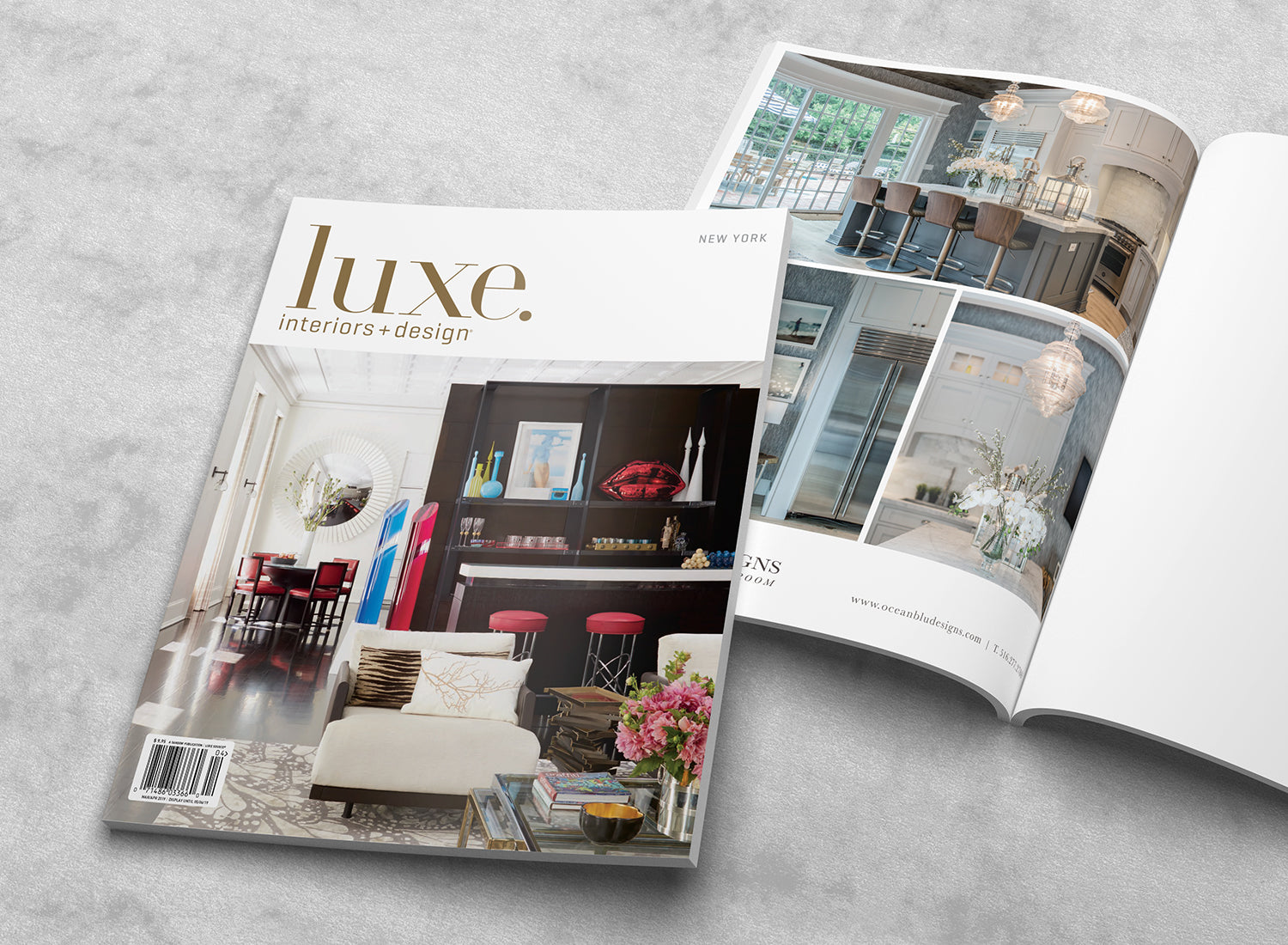Luxe Magazine New York March April Cover & Ocean Blu Designs - Press page.