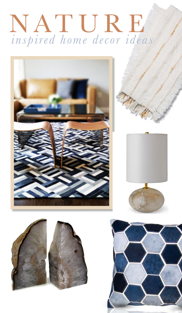 Great ideas!!! Nature Inspired Home Decor Ideas! Agate, cowhide, stone. Found on www.oceanbludesigns.com