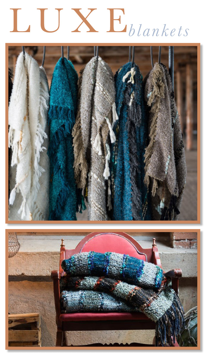 These are great luxurious throw blankets for any comfy, cozy even as an accent in a modern designed room.  Found at www.oceanbludesigns.com