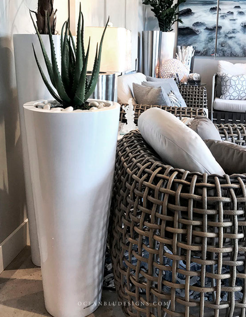 Ocean Blu Designs - The best modern Sleek, clean white and metal floor planters, luxury hotel style for patio or home decor