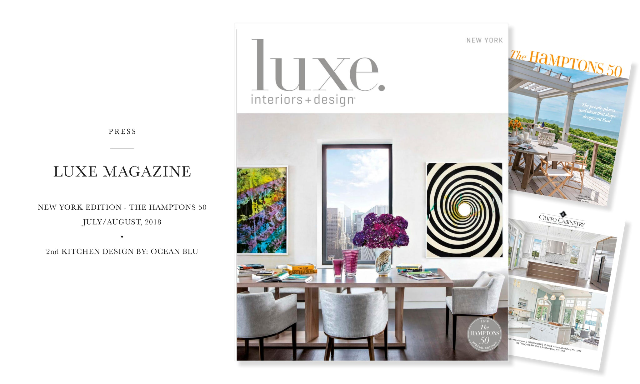 Ocean Blu Designs - Long Island's Best Modern Coastal Interior Design Services - Featured in Luxe Magazine, New York Edition, Hamptons 50