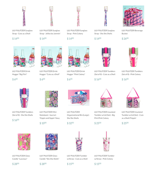 Lily Pulitzer Gift and Accessories on Ocean Blu