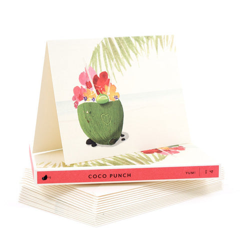 "Note Card Set - Yum Coco Punch ""Hello!"" (Box of 8)"