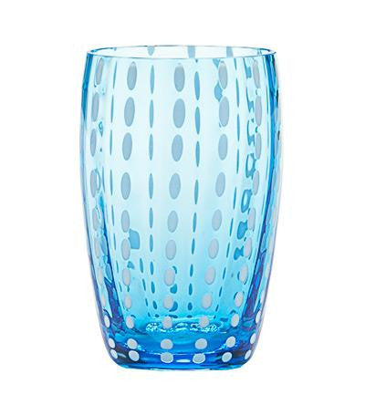 "ZAFFERANO ""PERLE"" Tumbler Beverage Glass 11 oz (Aquamarine)"