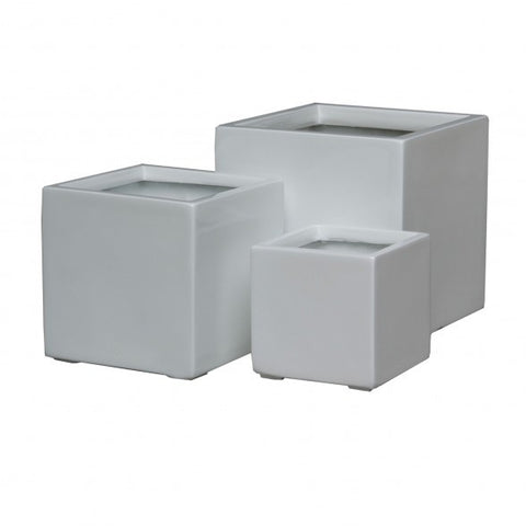 Cube Planters White Laquer (Set of 3)