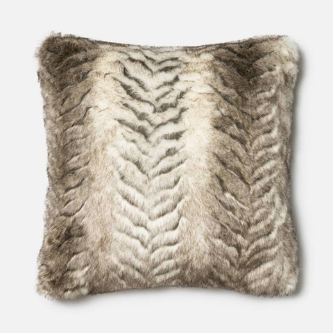 White and Grey Faux Fur Tiger Design Accent Pillow