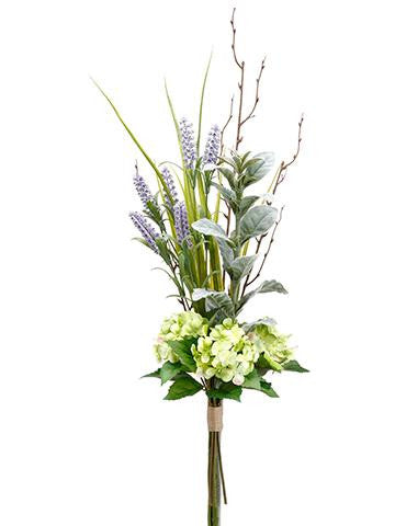 Faux Hydrangea, Lavender, Lamb's Ear Drop Stems in a Bouquet Bundle 34""