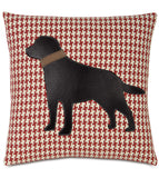 BLACK LAB DOG ON BOWLINE - Accent Pillow Cushion