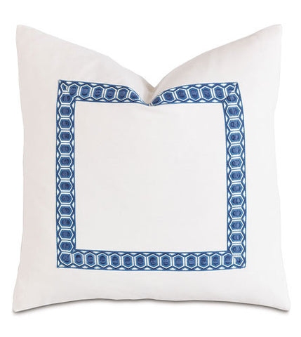 BALDWIN BLUE BRAID BORDER - Accent Pillow Cushion