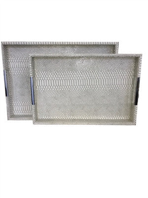 Grey Croc Rectangle Trays with Silver Handle
