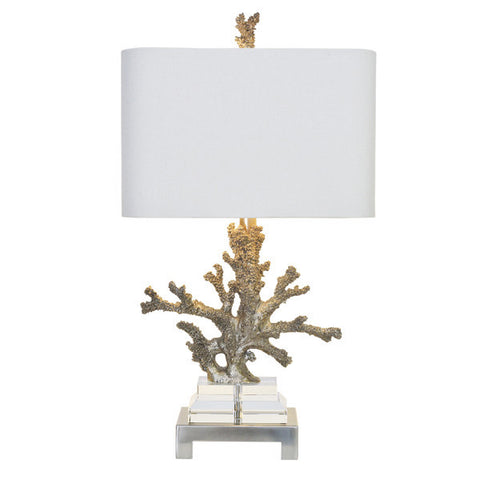Attrayant Coastal Retreat Silver Coral   Table Lamp With White Oval Shade